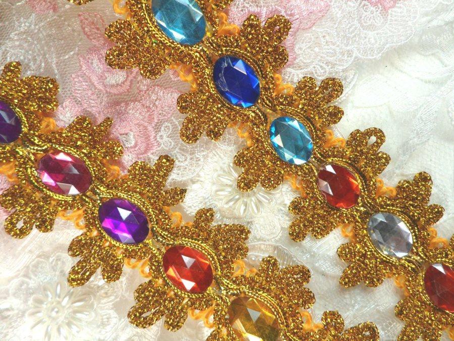 Jewel Trim Gold Metallic Multi-Colored