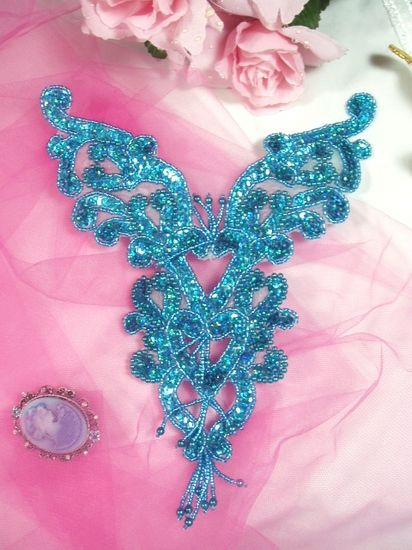 0035 Turquoise Holographic Heart Bodice Yoke 8\ Sequin Beaded Applique