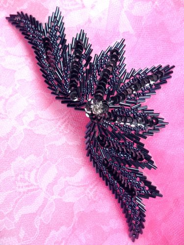 0084 Sequin Applique Gunmetal w/ Beads Sewing Patch Motif 7\