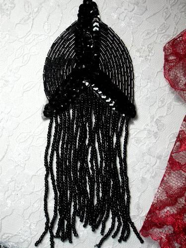 0099 Black Epaulet Beaded Sequin Applique 6\