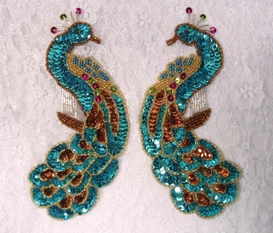 turquoise sequin beaded applique peacock