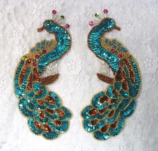 0167 turquoise peacock pair sequin beaded appliques