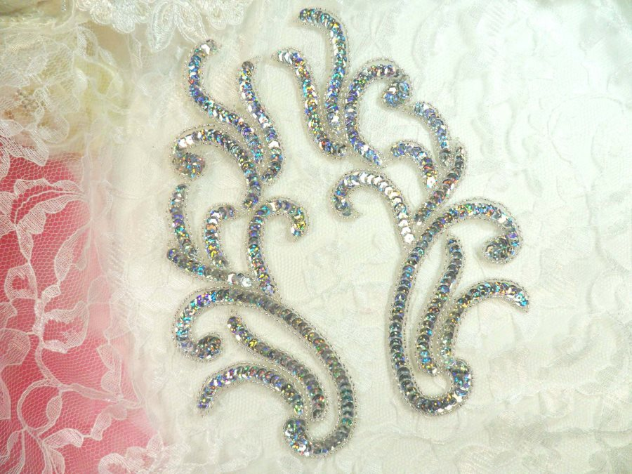 Appliques Silver Holographic Sequin Mirror Pair Beaded Motifs 9 (0170X)