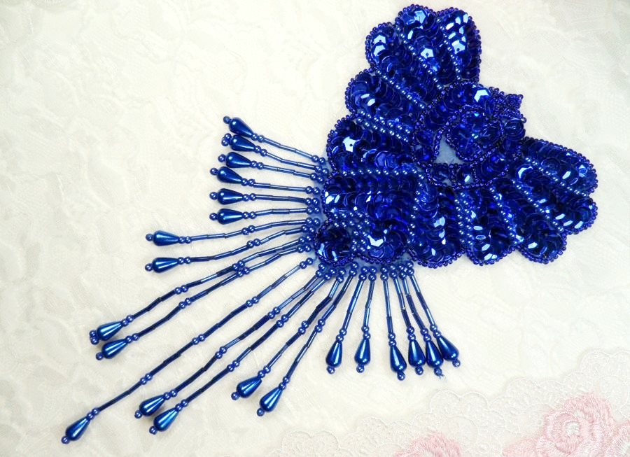 Epaulet Sequin Applique w/ long Dangle Accent Beads Royal Blue Sewing Patch 8 (0178)