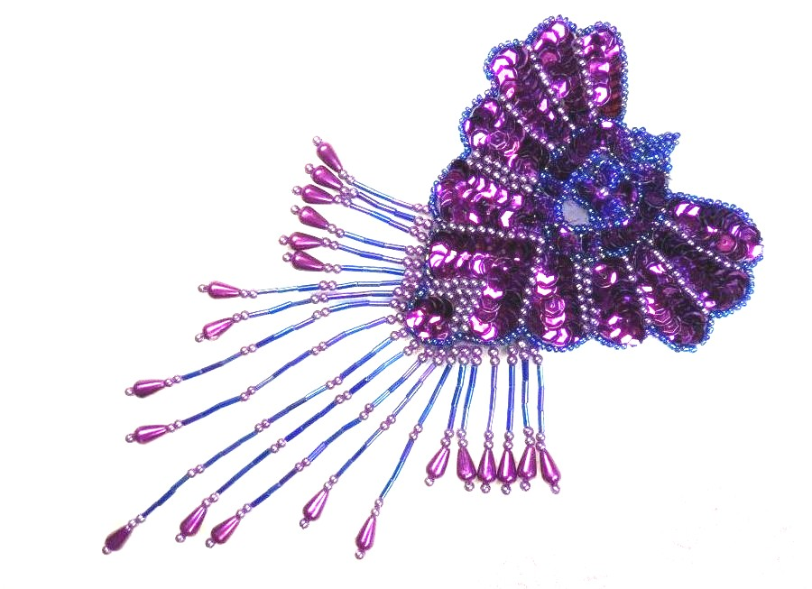 Epaulet Sequin Applique w/ long Dangle Accent Beads Purple Sewing Patch 8 (0178)