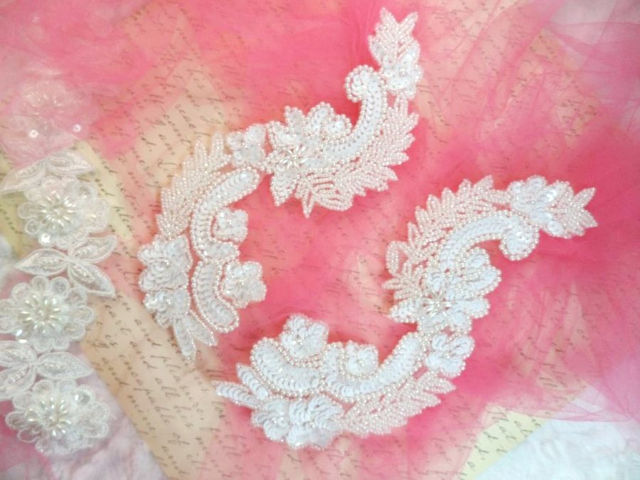 White Sequin Bridal Appliques w/ Ivory Beads Mirror Pair Motifs 8 (0180X)