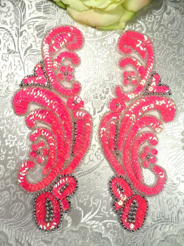 sequin beaded applique pink mirror pair. Black Bedroom Furniture Sets. Home Design Ideas
