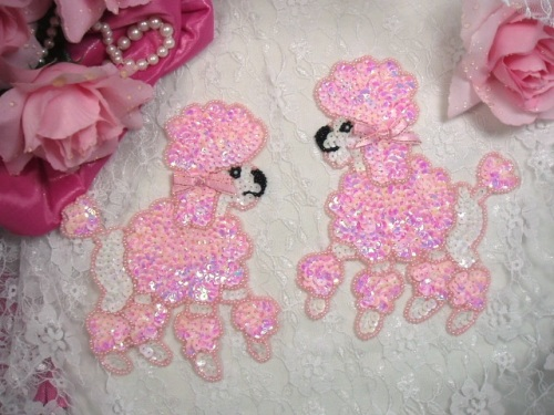 OS0226 ( LEFT SIDE ONLY ) Pink Poodle Beaded Sequin Applique