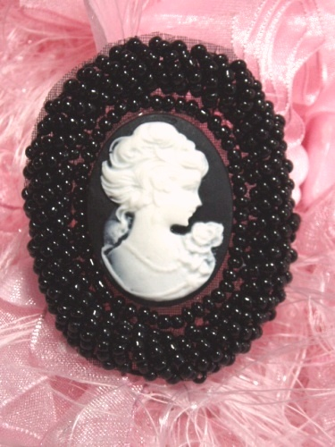 JB244 Cameo Applique Beaded Black White Victorian Iron on Patch  2\