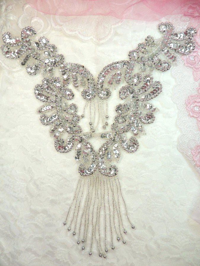 Silver Bodice Yoke Sequin Beaded Applique w/ Dangles 10 (0510)
