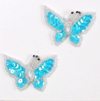 E3132 (Set of 2) Aqua Blue Butterfly Sequin Beaded Appliques 1.75&quot;