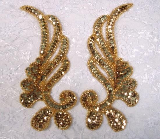 sequin beaded applique gold mirror pair