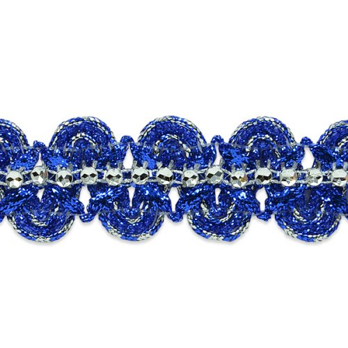 E6964 Blue & Silver Eva Faux Rhinestone Metallic Braid Trim 1 1/8""