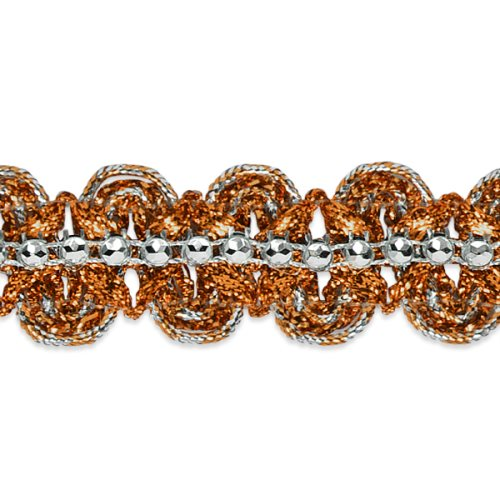 E6964 Orange & Silver Eva Faux Rhinestone Metallic Braid Trim 1 1/8""