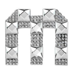 E1327M  Rhinestone Letter Applique M Iron On Patch Crystal 2.5\