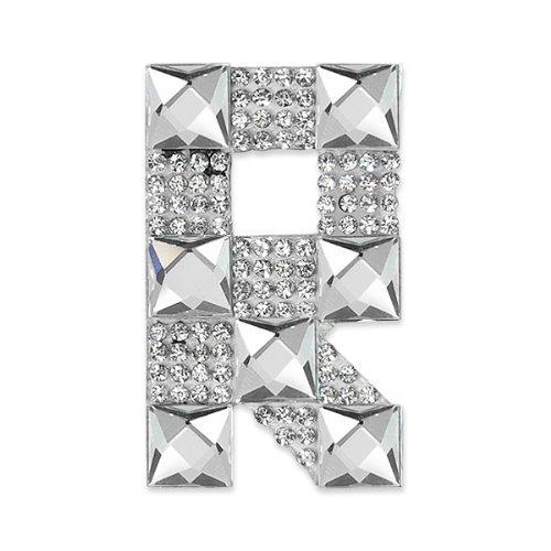 E1327R  Rhinestone Letter Applique R Iron On Patch Crystal 2.5\