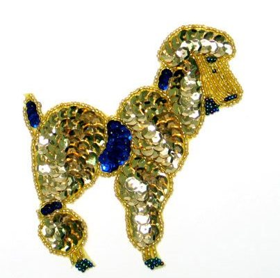 E1210 Gold Poodle Beaded Sequin Applique 4.5""