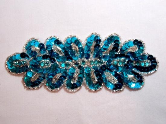 sequin beaded turquoise rhinestone applique
