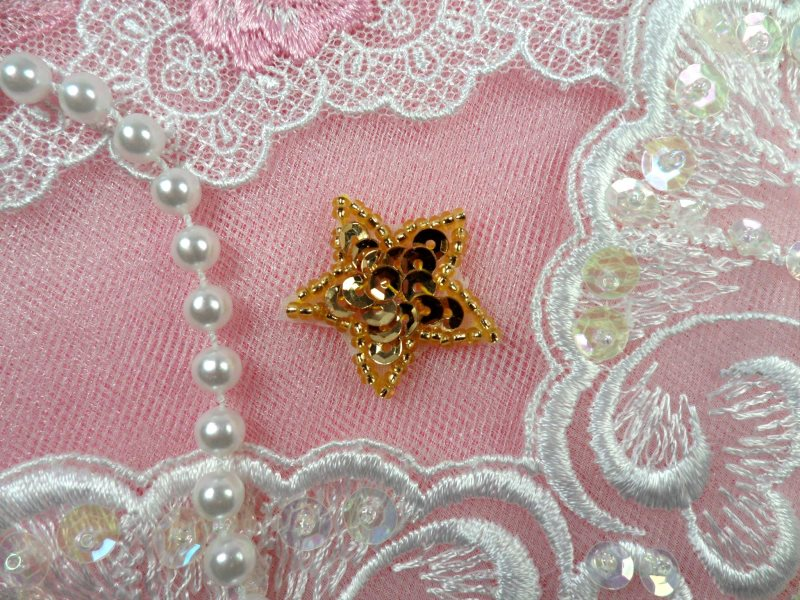 Star Applique 1 Inch Gold Sequin Beaded Patch Iron On Petite (ACT/XR359-gl)