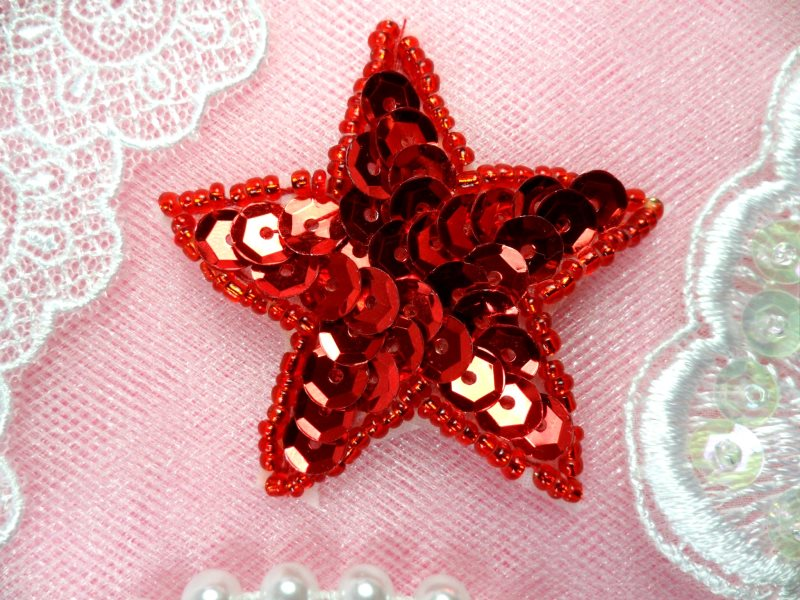 Star Applique 2 Inch Red Sequin Beaded Patch Iron On (ACT/XR360-rd)