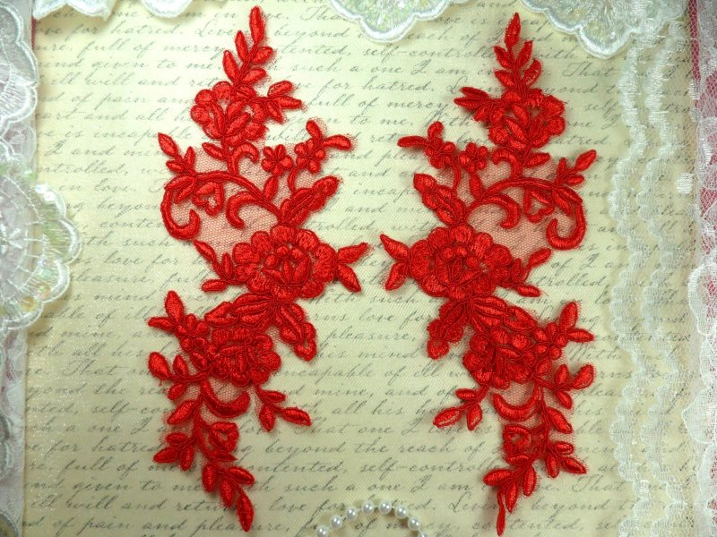 Mirror Pair Red Floral Venise Lace Embroidered Appliques 9 (BL88)