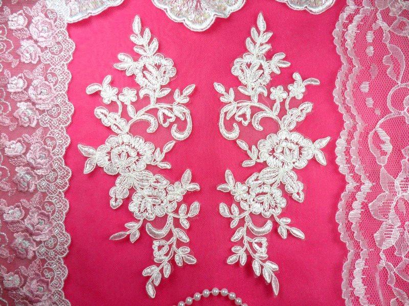 Mirror Pair Antique White Floral Venise Lace Embroidered Appliques 9 (BL88)