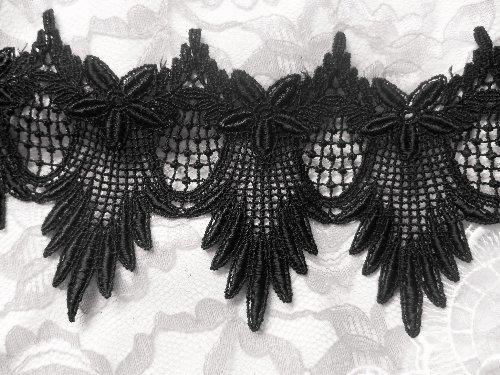 Black Lace Trim Scalloped C149 Black Venice Lace Trim
