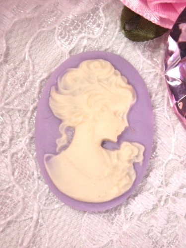 CB12  Lavender Ivory Victorian Cameo Bead 1 7/8