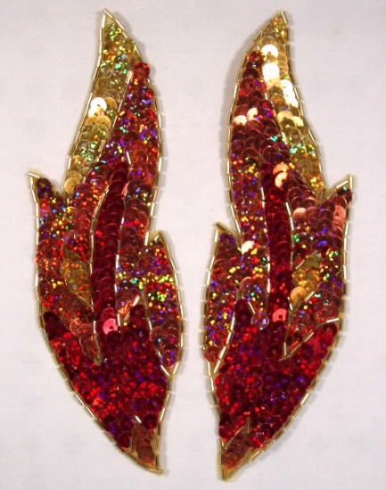 0174 Flame 7\ Mirror Pair Sequin Beaded Appliques