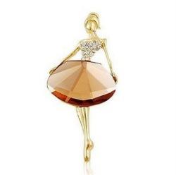 "GB67 Ballerina Brooch Crystal Rhinestone Pin Champagne/Gold 1.75"""