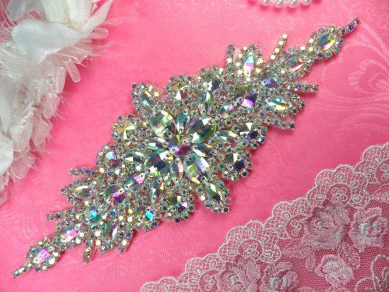 DH10 Bridal Sash Applique Crystal Aurora Borealis AB Rhinestone 9