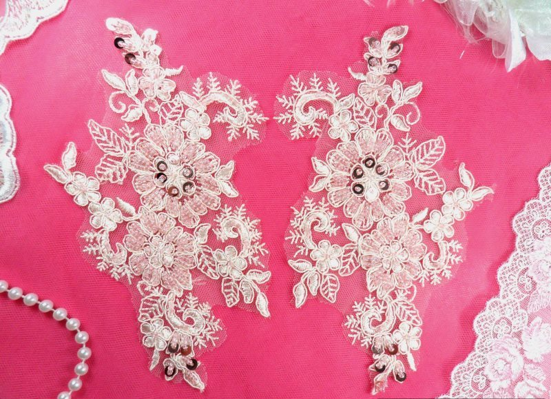 Embroidered Lace Applique Mirror Pair Floral design accented w/ Sequins and Beads Pink Color 7 (DH50)