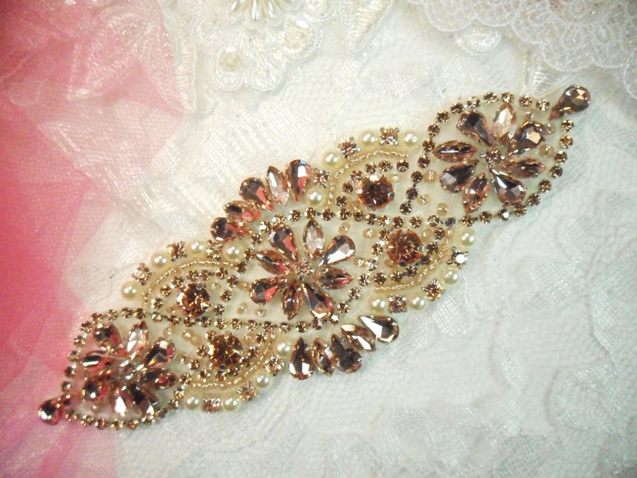 Bridal Applique Rose Gold Rhinestone Beaded With Antique White Pearls 6 (DH54)