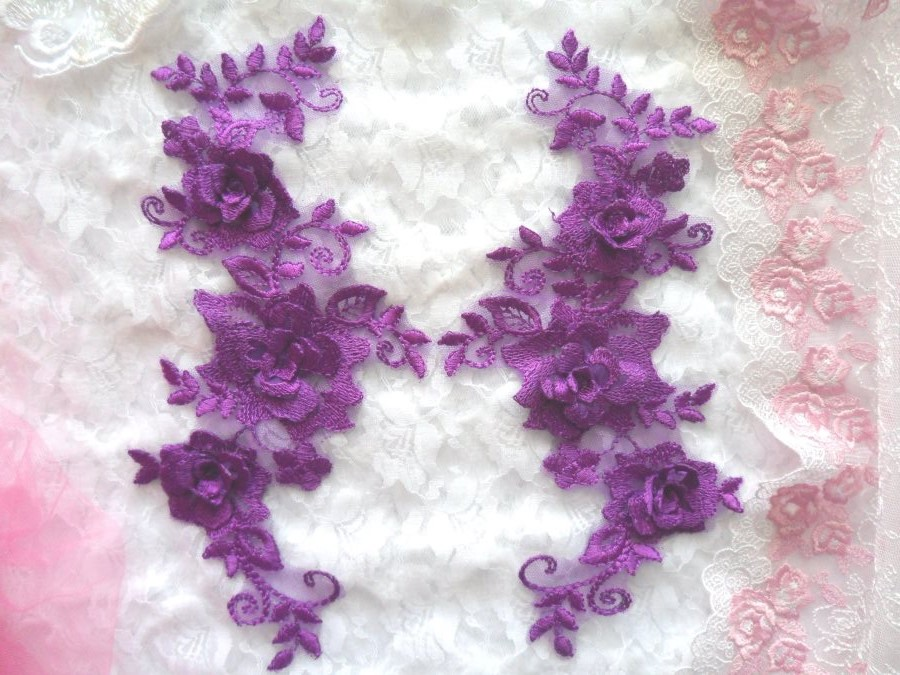 3D Lace Appliques Purple Floral Embroidered Mirror Pair 10.5 (DH65X)