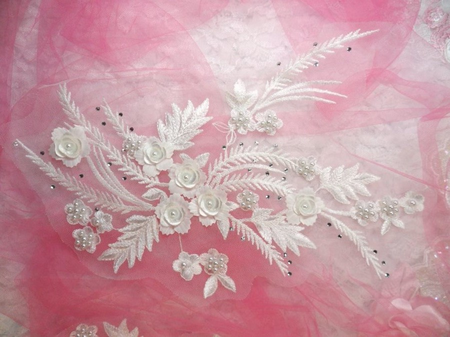 Embroidered 3D Applique White Floral w/ Pearls Ballet Costume or Bridal Gown Motif  13 (OSDH76R)