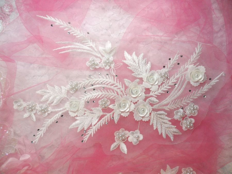 Embroidered 3D Applique White Floral w/ Pearls Ballet Costume or Bridal Gown Motif  13 (OSDH76L)