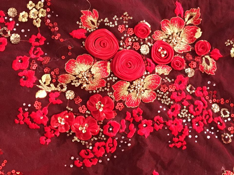 Embroidered fabric d appliques red gold floral