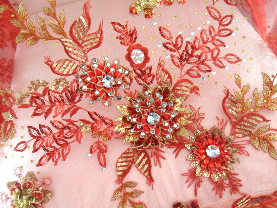 Embroidered 3D Applique Fabric Red Gold Sequin Rhinestone Floral Design (DH78)