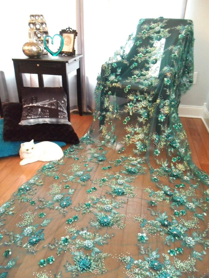 Embroidered 3D Applique Fabric Teal Sequin Rhinestone Floral Design (DH78)