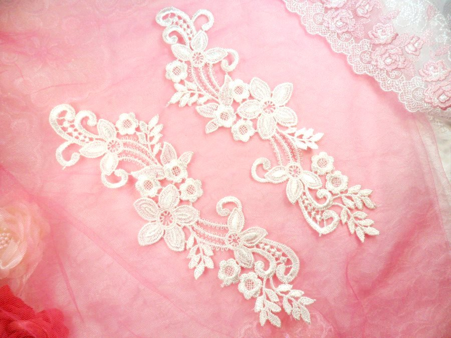 Embroidered Lace Appliques White Floral Venice Lace Mirror Pair 9.5 (DH81X)