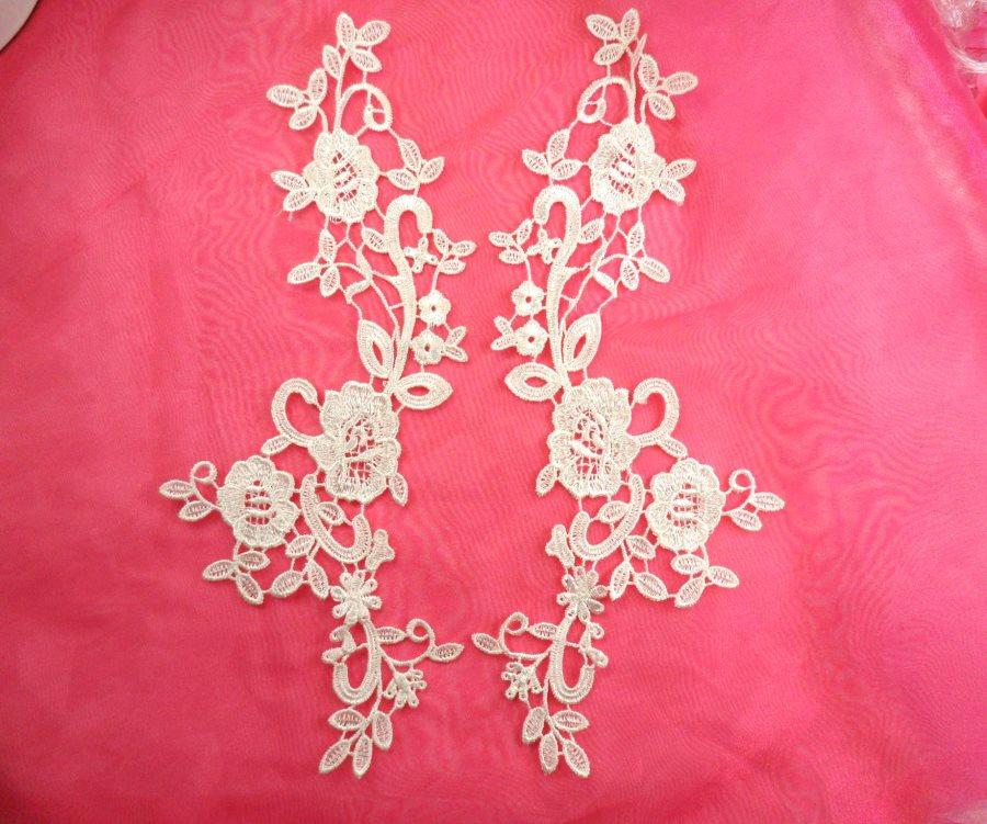 Embroidered Lace Appliques White Floral Venice Lace Mirror Pair Motifs 11 (DH85X)