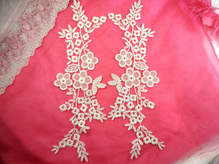 Shimmering White Floral Embroidered Lace Appliques Venice Lace Mirror Pair 14 (DH86X)