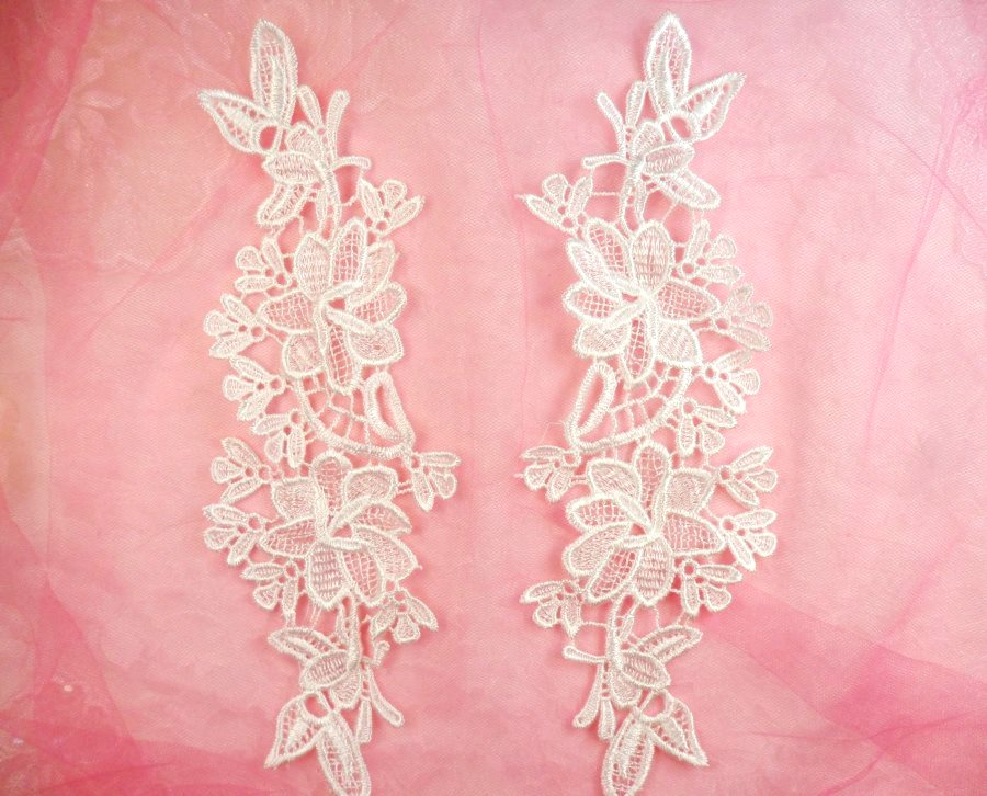Embroidered Lace Appliques White Floral Venice Lace Mirror Pair 10 (DH87X)