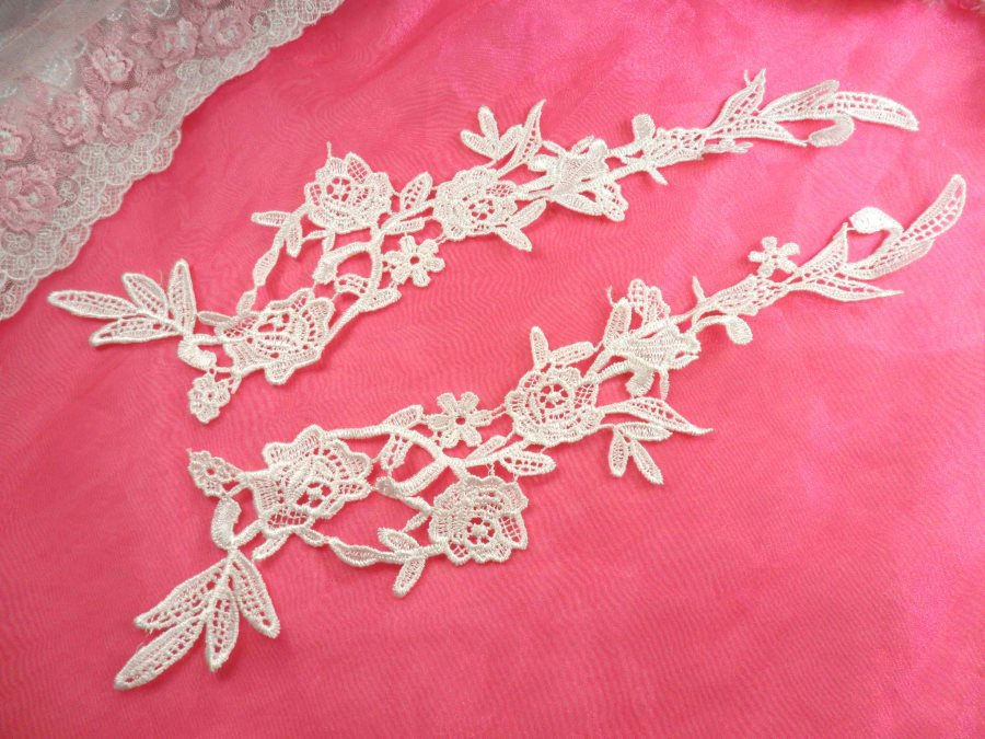 Embroidered Lace Appliques White Floral Venice Lace Mirror Pair 14 (DH88X)