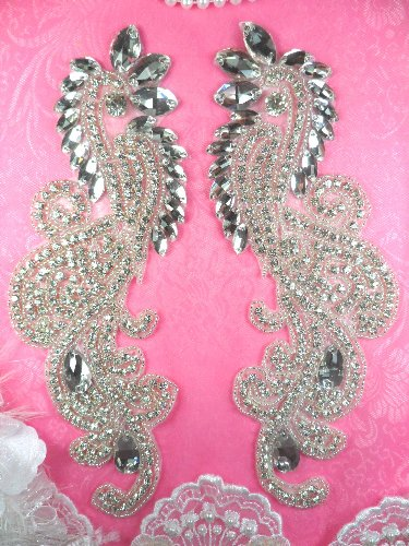 RMDH4XB REDUCED Rhinestone Appliques Mirror Pair Crystal Clear Glass Silver Beaded 9\
