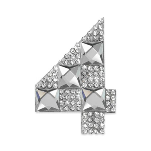 E1328/4 Crystal Rhinestone Applique Number Four Iron On Patch 2.5\