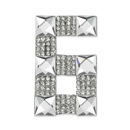 E1328/6 Crystal Rhinestone Applique Number Six Iron On Patch 2.5\