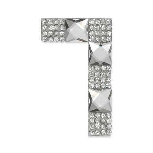 E1328/7 Crystal Rhinestone Applique Number Seven Iron On Patch 2.5\