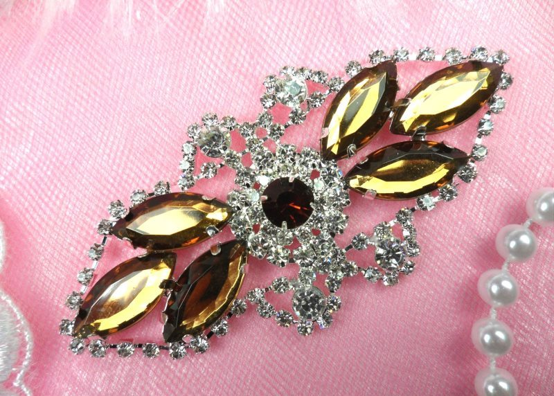 Crystal Rhinestone Embellishment Marquise Brown Silver Metal Back 3.25 (GB335-brsl)