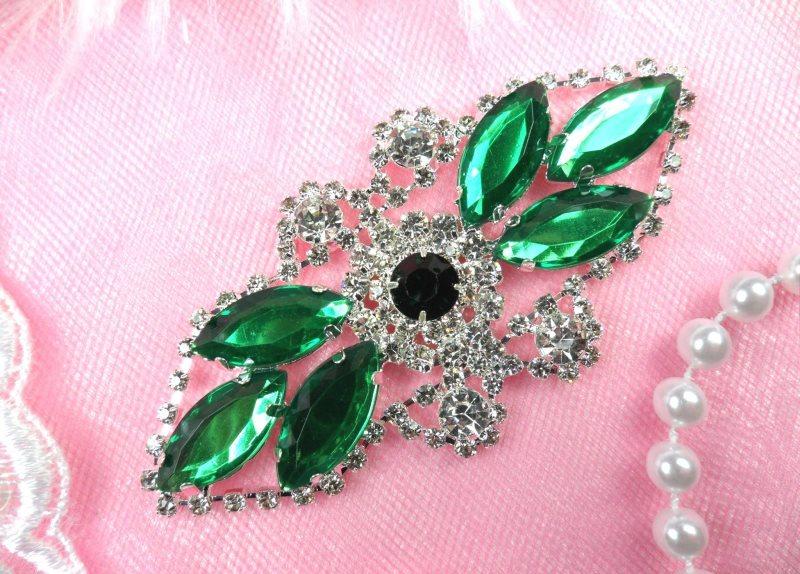 Crystal Rhinestone Embellishment Marquise Green Silver Metal Back 3.25 (GB335-grsl)